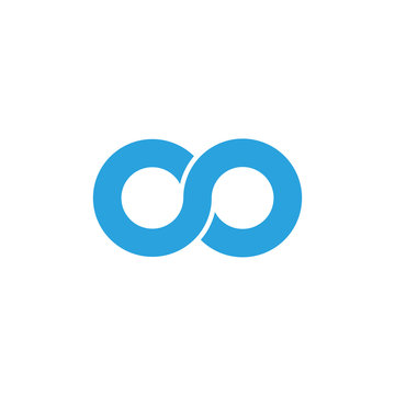 Initial letter oo modern linked circle round lowercase logo blue