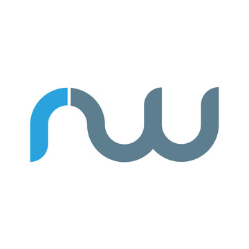 Initial letter rw modern linked circle round lowercase logo blue gray