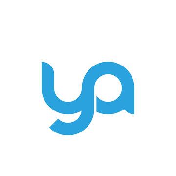 Initial letter ya modern linked circle round lowercase logo blue