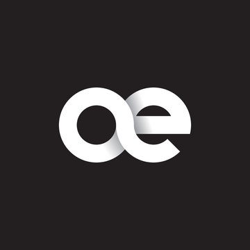 Initial lowercase letter ae, linked circle rounded logo with shadow gradient, white color on black background