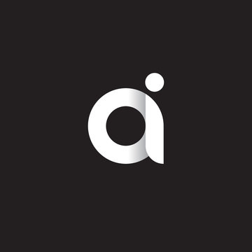 Initial lowercase letter ai, linked circle rounded logo with shadow gradient, white color on black background