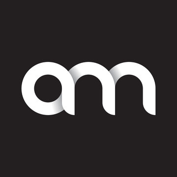 Initial lowercase letter am, linked circle rounded logo with shadow gradient, white color on black background