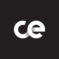 Initial lowercase letter ce, linked circle rounded logo with shadow gradient, white color on black background
