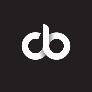 Initial lowercase letter cb, linked circle rounded logo with shadow gradient, white color on black background