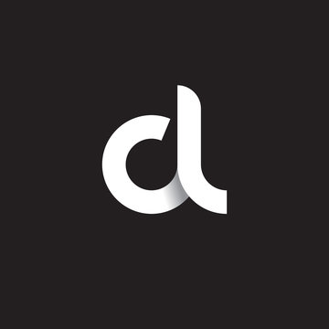 Initial lowercase letter cl, linked circle rounded logo with shadow gradient, white color on black background