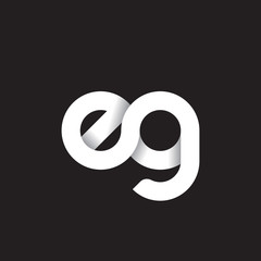 Initial lowercase letter eg, linked circle rounded logo with shadow gradient, white color on black background