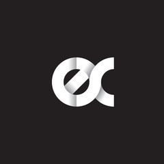 Initial lowercase letter ex, linked circle rounded logo with shadow gradient, white color on black background