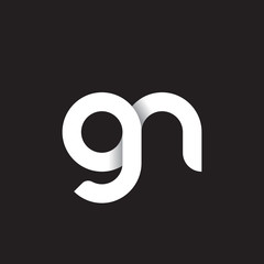 Initial lowercase letter gn, linked circle rounded logo with shadow gradient, white color on black background