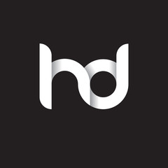 Initial lowercase letter hd, linked circle rounded logo with shadow gradient, white color on black background