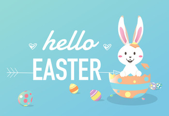 Happy easter day with white Easter rabbit.