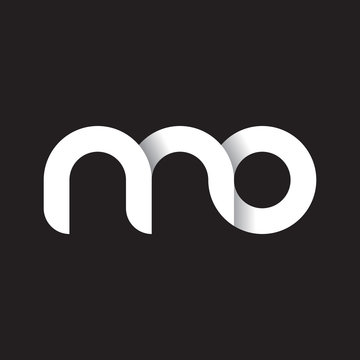 Initial lowercase letter mo, linked circle rounded logo with shadow gradient, white color on black background