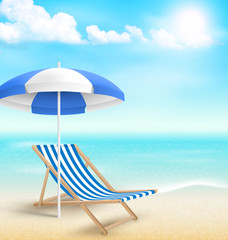 Beach with sun beach umbrella beach chair and clouds. Summer vac