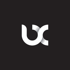Initial lowercase letter ux, linked circle rounded logo with shadow gradient, white color on black background