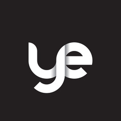 Initial lowercase letter ye, linked circle rounded logo with shadow gradient, white color on black background