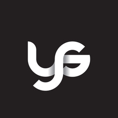 Initial lowercase letter ys, linked circle rounded logo with shadow gradient, white color on black background