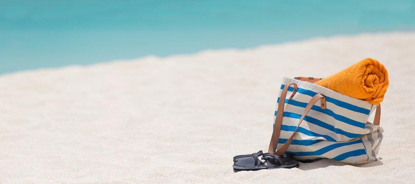 panorama of beach accessories