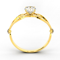3D Gold diamond Ring isolated on white background.