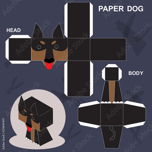 Dog Paper Craft Template Stock Image And Royalty Free Vector Files