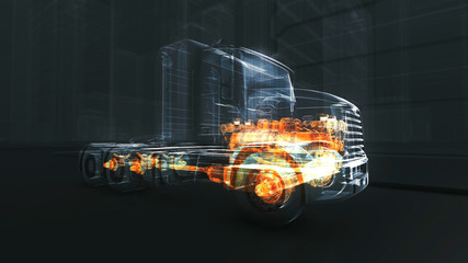 Abstract 3D Truck Engine