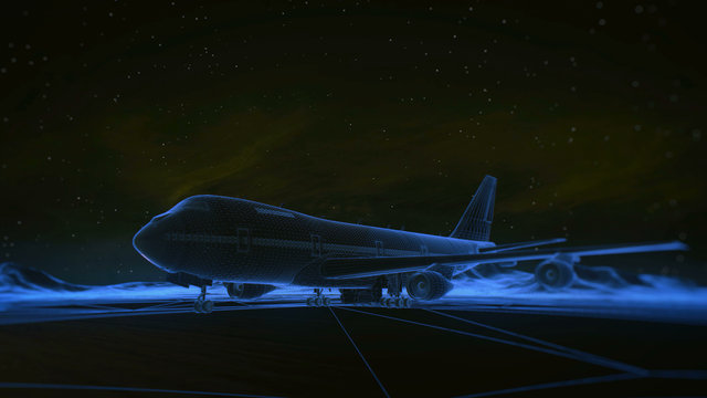 airliner on the runway in the mountains. Night sky. Transition wireframe hologram to photorealistic render.