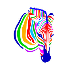 Colorful zebra head on white background. Vector illustration. Wild animal texture. Striped black and white.