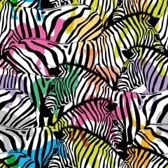 Zebra with colorful silhouette wildlife animals, seamless pattern. Wild animal design trendy fabric texture, illustration.