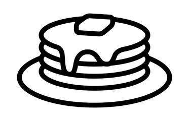 Breakfast pancakes with syrup and butter on a plate line art icon for food apps and websites