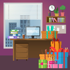modern office interior with present boxes. Vector image.