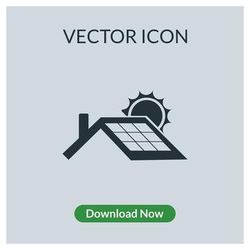 Solar panel roof vector icon