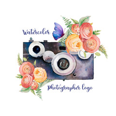 Watercolor photographer logo. Vintage photo camera with bouquets of flowers, branches and butterfly. Hand painted isolated design. Watercolor illustration
