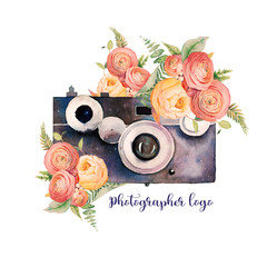 Watercolor photographer logo. Vintage photo camera with bouquets of flowers, branches and fern. Hand painted isolated design. Watercolor illustration