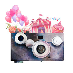 Watercolor photographer logo. Vintage photo camera with flowers, balloons, party garland, circus and cupcake. Hand painted isolated design.