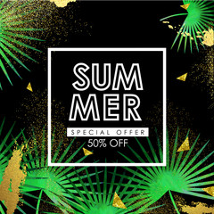 Floral flayer or discount voucher vector template. Trendy summer illustration. Tropical leaves and glittering gold texture on solid black background.