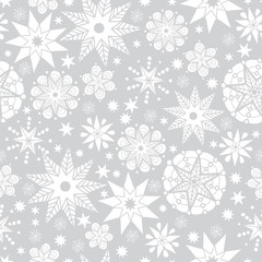 Vector Silver Grey and White Abstract Doodle Stars Seamless Pattern Background. Great for elegant texture fabric, cards, wedding invitations, wallpaper.
