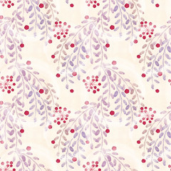 Seamless floral pattern. Colorful flowers, leaves, twigs on  background paper.
