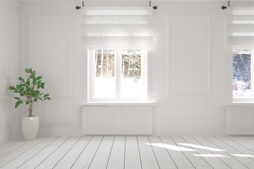 White empty room with flower and winter landscape in window. Scandinavian interior design. 3D illustration