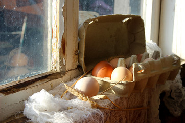Fresh homemade eggs and an old window sill