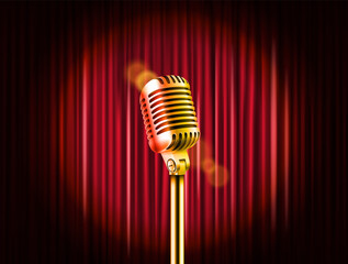 Stage curtains with golden microphone vector illustration. Standup comedy show template