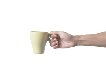 hand holding green coffee cup isolated on white background.