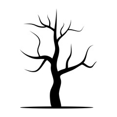 Tree without leaves. Vector illustration isolated on a white background