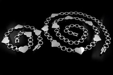 Set necklace and bracelet - Jewelry on a black background