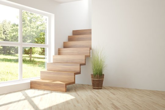 White empty room with stair and green landscape in window. Scandinavian interior design. 3D illustration