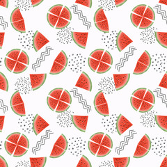 Seamless fruit pattern.Slices of watermelon on white background