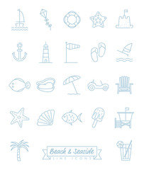 Beach and Seaside Line Icons Vector Set