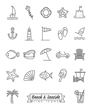 Beach and Seaside Line Icons Set