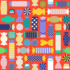 Seamless pattern with different colorful candies
