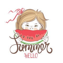 Summer Girl / Vector illustration or postcard, child with a slice of watermelon