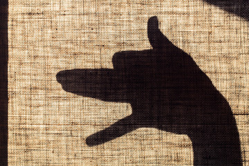 The shadow of the hand and fingers in the form of a dog shaped mark on flax canvas.