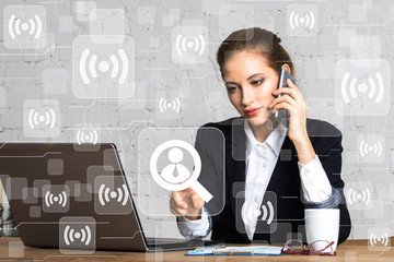Wall Mural - Social network Wifi business woman presses button magnifier search business group web