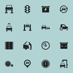 Set Of 16 Editable Car Icons. Includes Symbols Such As Race, Accumulator, Auto Repair And More. Can Be Used For Web, Mobile, UI And Infographic Design.